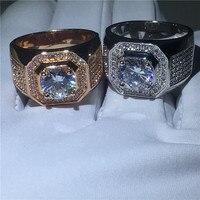 2 цвета Solitaire мужской кольцо из белого золота Заполненные круглый 3ct 5A cz sona камень Обручение обручальное кольцо кольца для Для мужчин палец ю