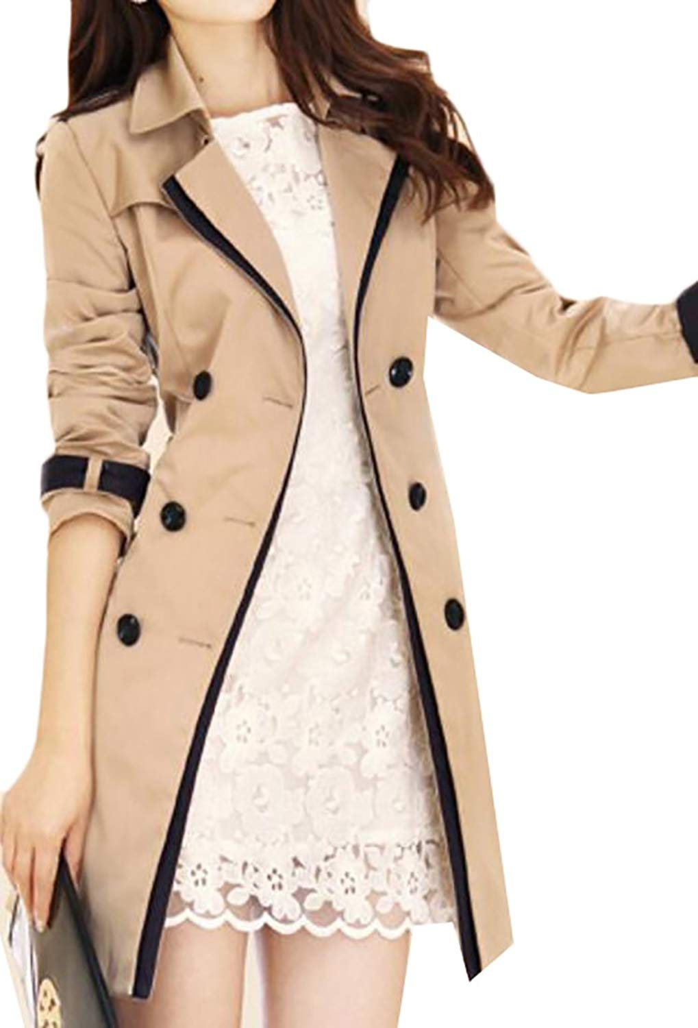 Women's Winter Double Breasted   Trench   Peacoat