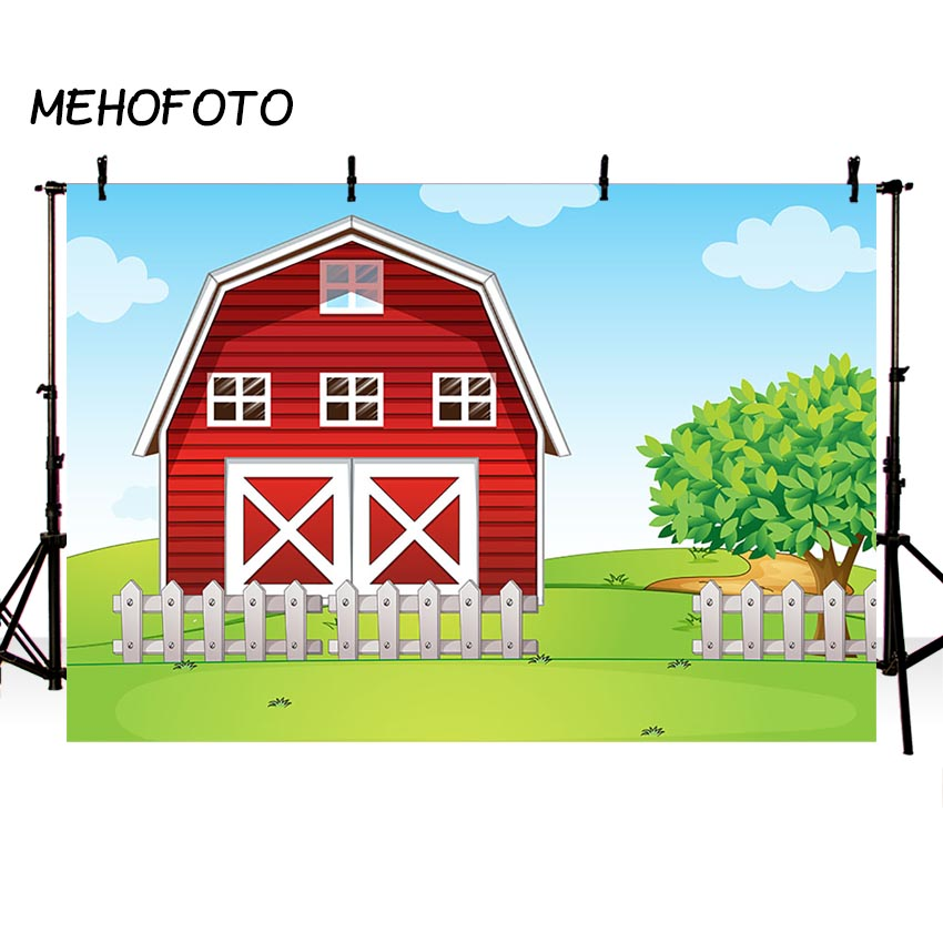 Us 9 5 39 Off Mehofoto Farm Birthday Party Banner Backdrop Red Barn Green Grass Cartoon Decoration Photography Background For Photobooth In