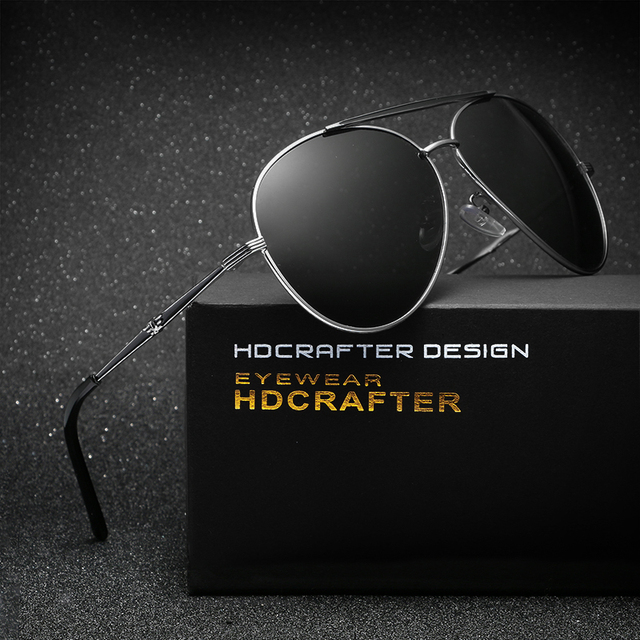 HDCRAFTER Brand Polarized Retro Men's Sunglasses oculos Male Round Eyewear  Super Light  Outdoor Gafas