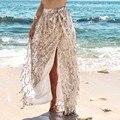 Vancol 2017 fêmea sexy fenda lateral da saia da praia do verão malha borlas saia de lantejoulas saia longa de paetês brilho saia mulheres