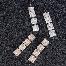 Trendy Luxury square shape dangle Earrings For Women Wedding Cubic Zircon CZ Dubai Bridal Earring Bohemia Hot 2019 E1355