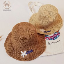 Peachtan Floral Straw hats Beach wide weaving elegant round female sun hat Holiday folded outdoor hat leisure cap Summer 2019(China)