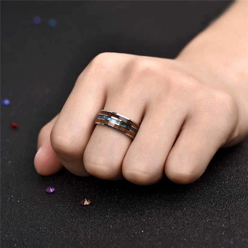 Jiayiqi แหวนผู้ชายสแตนเลสไม้แฟชั่นแหวนผู้หญิงผู้ชายเครื่องประดับของขวัญ
