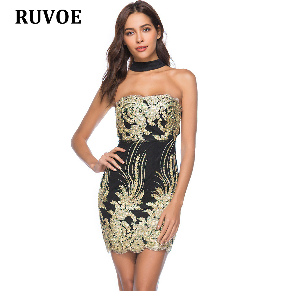 16f39cb8ba9 2018 Sexy sleeveless halter gold black sequin dress backless Christmas  party dress mini XXL short celebrity clubwear plus size-in Dresses from  Women's ...