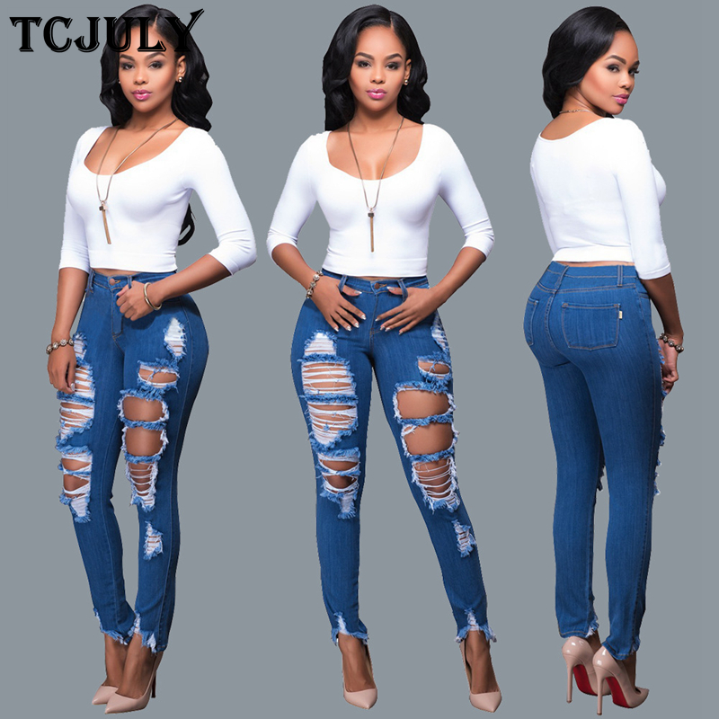 TCJULY American Fashion Streetwear Women's Jeans With Holes Ripped By Hand Blue Denim Pencil Pants Skinny Push Up Cowboys Woman
