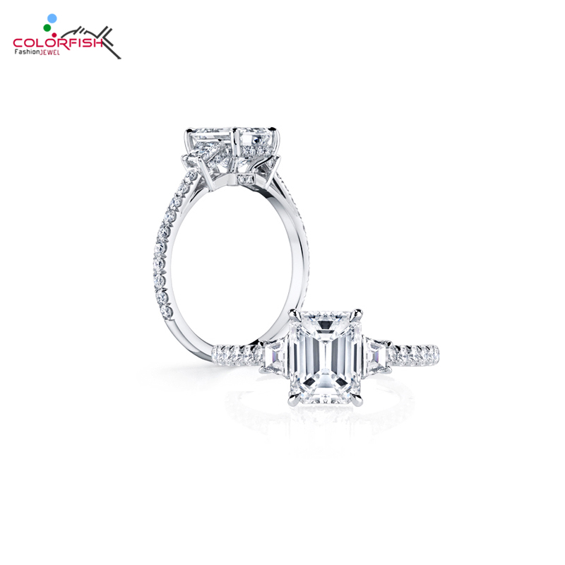 COLORFISH Luxury 3 Carat Engagement Rings For Women Wedding Jewelry Rectangle SONA NSCD 925 Sterling Silver Female Finger Ring недорого