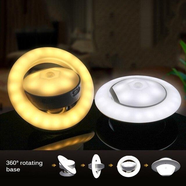 Czujnik ruchu Nightlight dzieci 360 stopni lampa obrotowa z czujnikiem ruchu kształt UFO akumulator lampy zasilany led lampka nocna