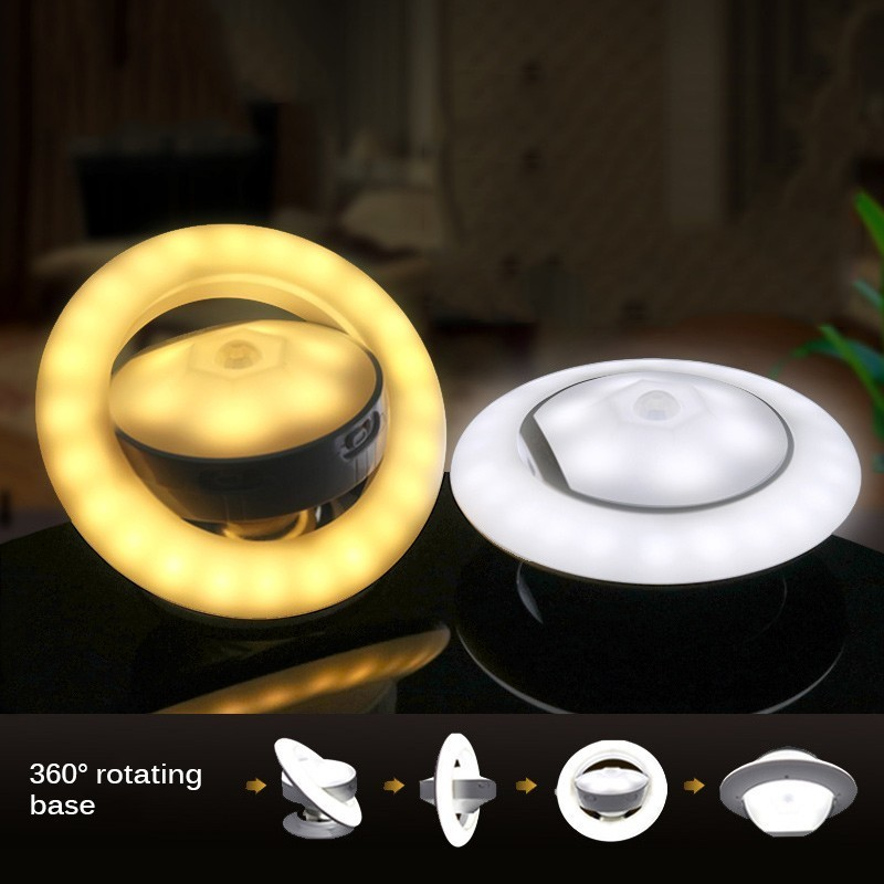 Motion Sensor Nightlight Children 360 Degree Rotating Lamp With Motion Sensor UFO Shape Lamp Battery Powered Led Night Light
