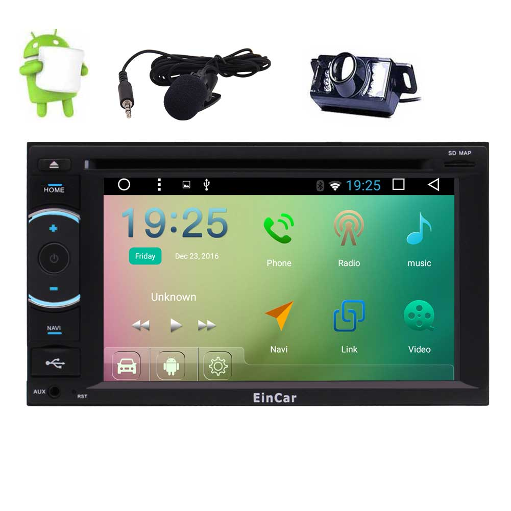 Caméra arrière + Quad Core Autoradio Android 6.0 HeadUnit GPS Autoradio Navi DVD lecteur CD écran multi-touch OBD WIFI + micro externe