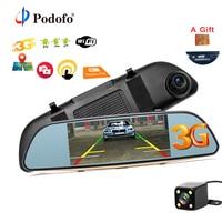 Podofo 5 Car DVR Camera Dual Lens Rearview Mirror Video Recorder GPS Navigation Android 5 0