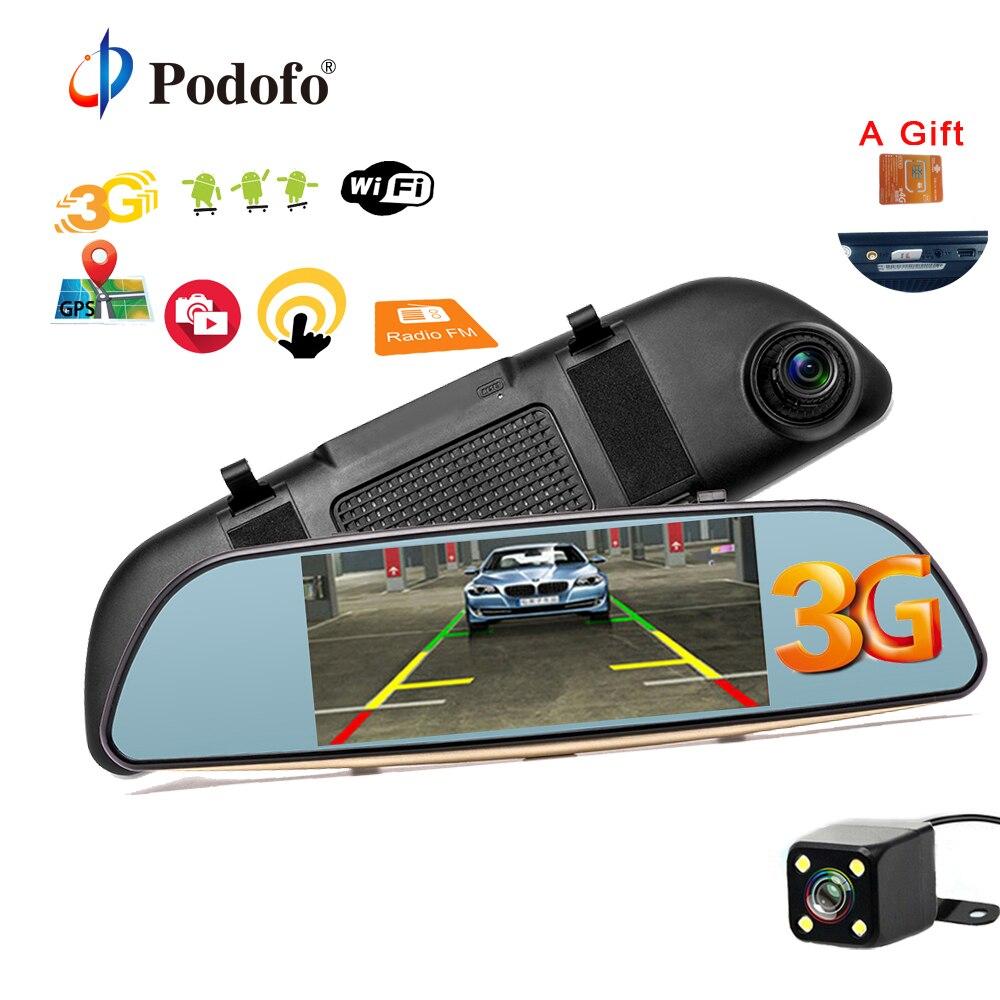 Podofo 7 Car DVR font b Camera b font Dual Lens Rearview Mirror Video Recorder GPS