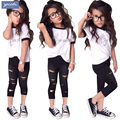 Kids clothes girls clothing sets 2017 summer fashion casual letters t-shirt + hole leggings 2pcs girls clothes children clothing