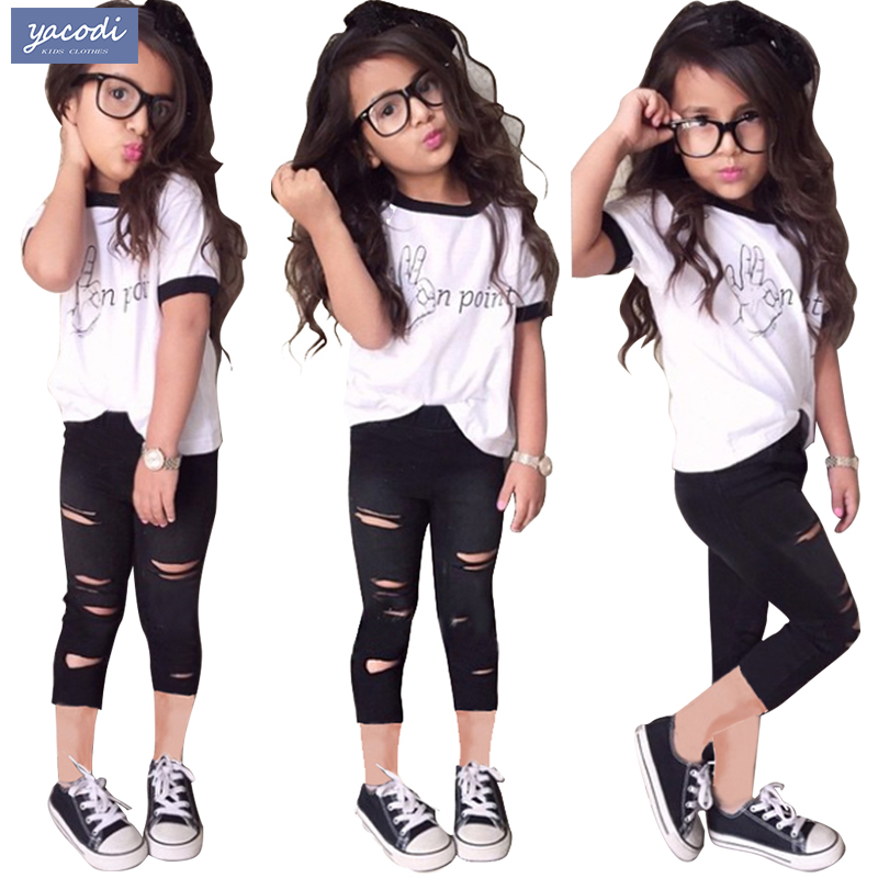 Kids Clothes Girls Clothing Sets 2018 Summer Fashion Casual Letters T Shirt Hole Leggings 2pcs Children In From