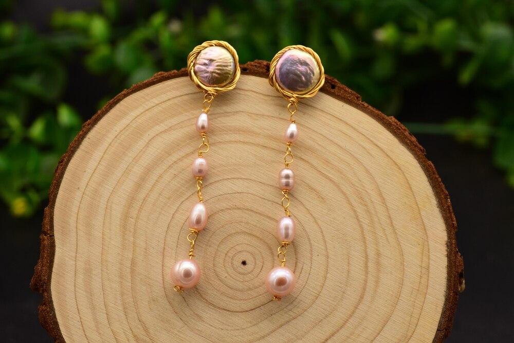Женские серьги кисточки из серебра 925 пробы с натуральным жемчугом