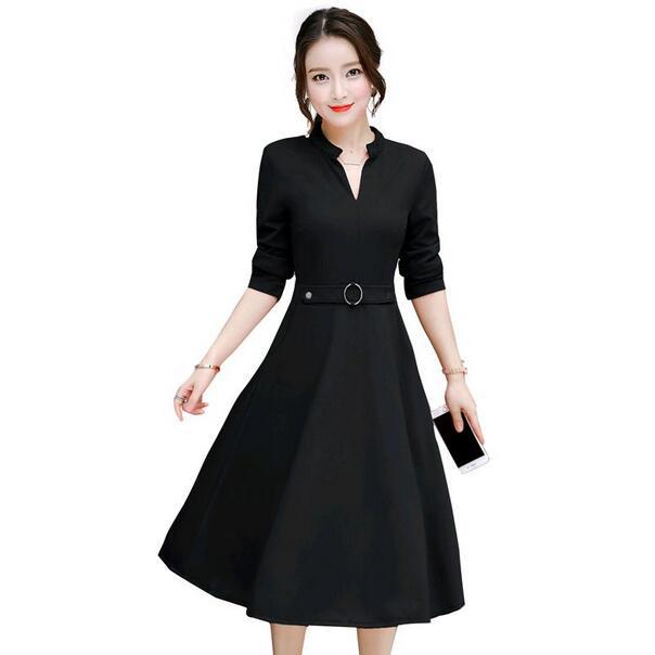 Elegant Long Dress Women 2019 Autumn New Midi Dress Black Red Green Long Sleeve V Neck Slim Ladies Dresses DF287