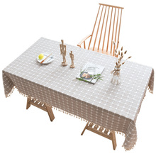 New Plaid Decorative Linen Tablecloth With Tassel Waterproof Oilproof Thick Rectangular Wedding Table Cover Dining Cloth
