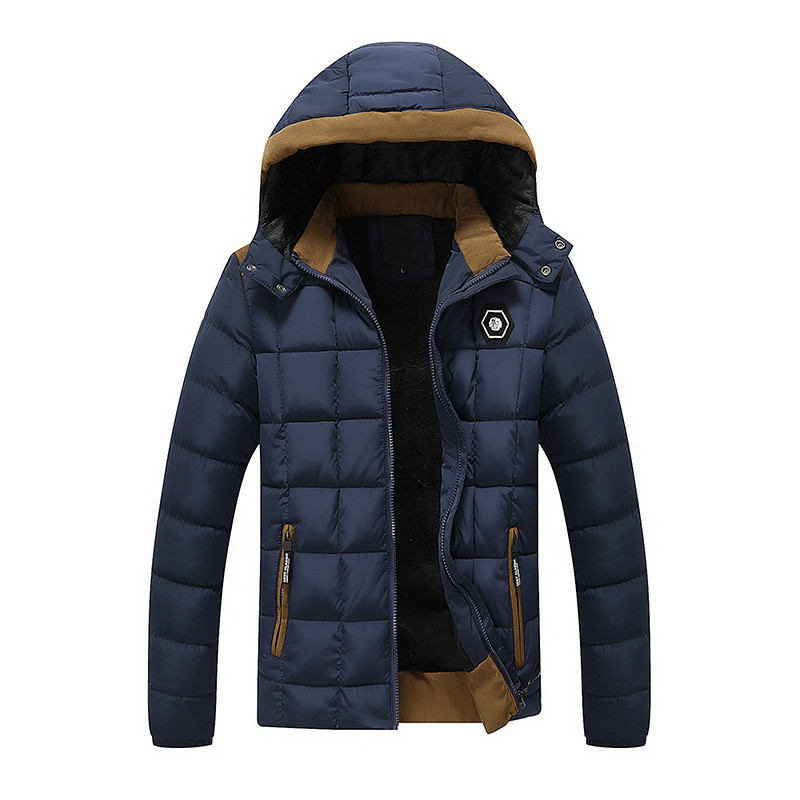 ФОТО 2016 NEW Men's Winter Jacket Fur Inside Cotton Padded Warm Parka Coat  High Quality Campera Hombre Thick Jacket JK011