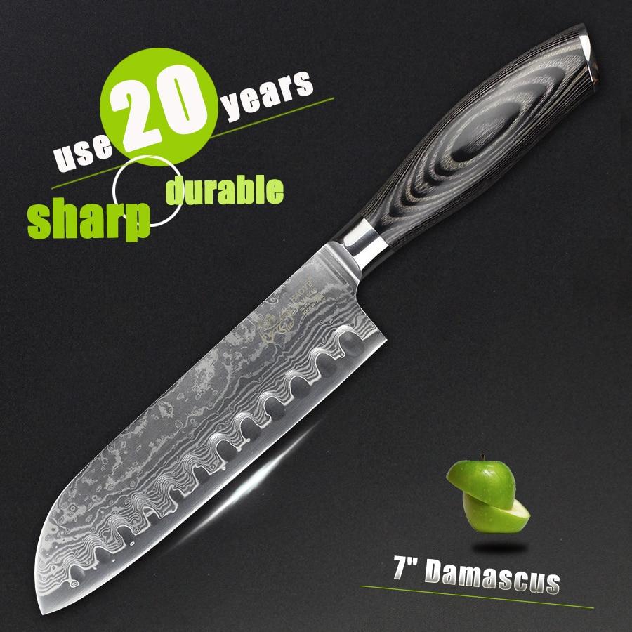 """haoye 7 """"damas stantoku couteau japonais vg10 creux bord couteaux de"""