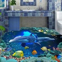 Custom 3D floor wallpaper 3d underwater world dolphin background wall vinyl floor waterproof self - adhesive wallpaper цена 2017