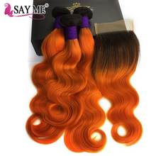 hot deal buy 1b/orange brazilian hair weave bundles with closure ombre body wave bundles with closure remy hair 3 ombre bundles with closure