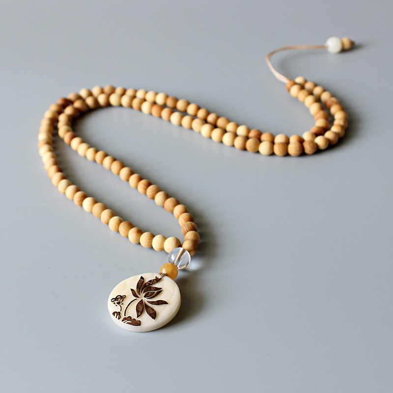 Wholesale Artisan Design Natural Wood 108mala Beads Necklace With Tagua Nut Carved Lotus Flower Pendant Zen Buddhism OM Jewelry