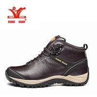 XIANG GUAN Original Autumn Winter Mens Genuine Cow Leather High Top Hiking Shoes Sports Man Climbing