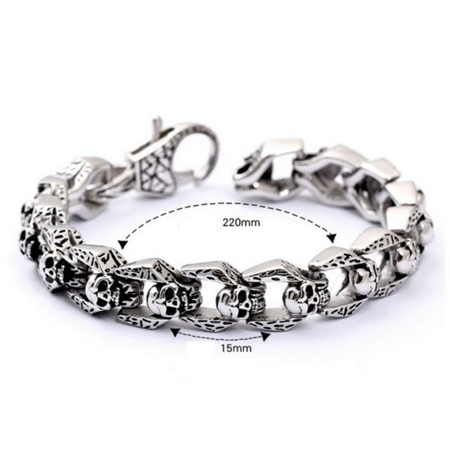 22cm length street man and woman cool jewelry health titanium skull bracelet