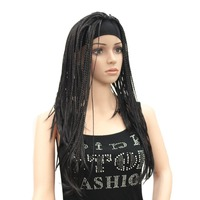StrongBeauty African Braided Box Braids Wig Headband wigs Long Dark Brown/black dreadlocks Hair Synthetic Full Wigs