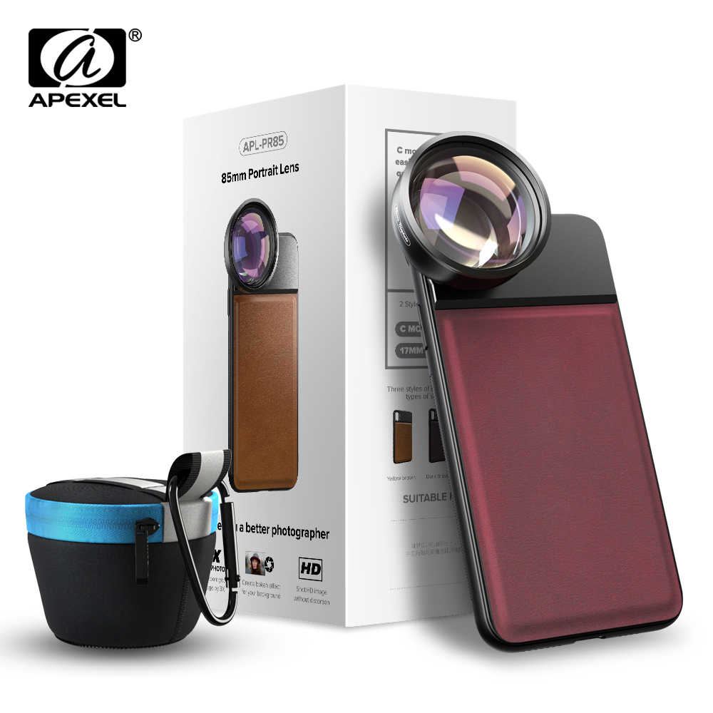 APEXEL Pro 3X Telephoto Lens 85mm Full Frame Phone Camera Lens Mobile Lens With 17mm Cellphone Case For iPhone XR Samsung Xiaomi