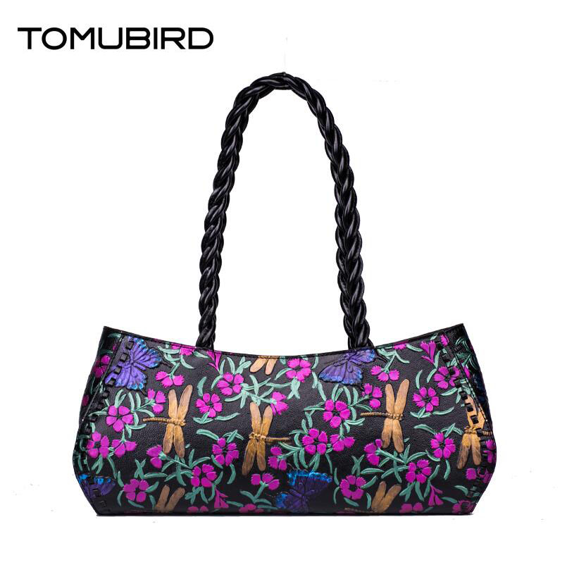 New TOMUBIRD genuine leather women bag Creative fashion Painted embossing leather art bag women leather handbags shoulder bag 2016 new women genuine leather bag fashion chinese style top quality cowhide embossing women leather handbags shoulder bag