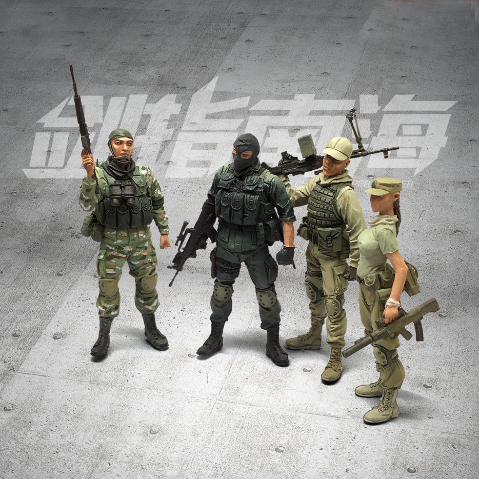 4pcs/set Tobyfancy 1/35 China Modern Elite Special Warrior Collection Soldier Military Resin Model Figure 1636#