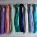 10PCS/LOT Wholesale 25*100CM Straight Blue/Green/Pink Wig 1/6 BJD Hair Doll