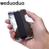 Weduoduo New Design Card holder Aluminum Metal RFID Blocking Credit Card Holder Genuine Leather Minimalist Card Wallet For Men