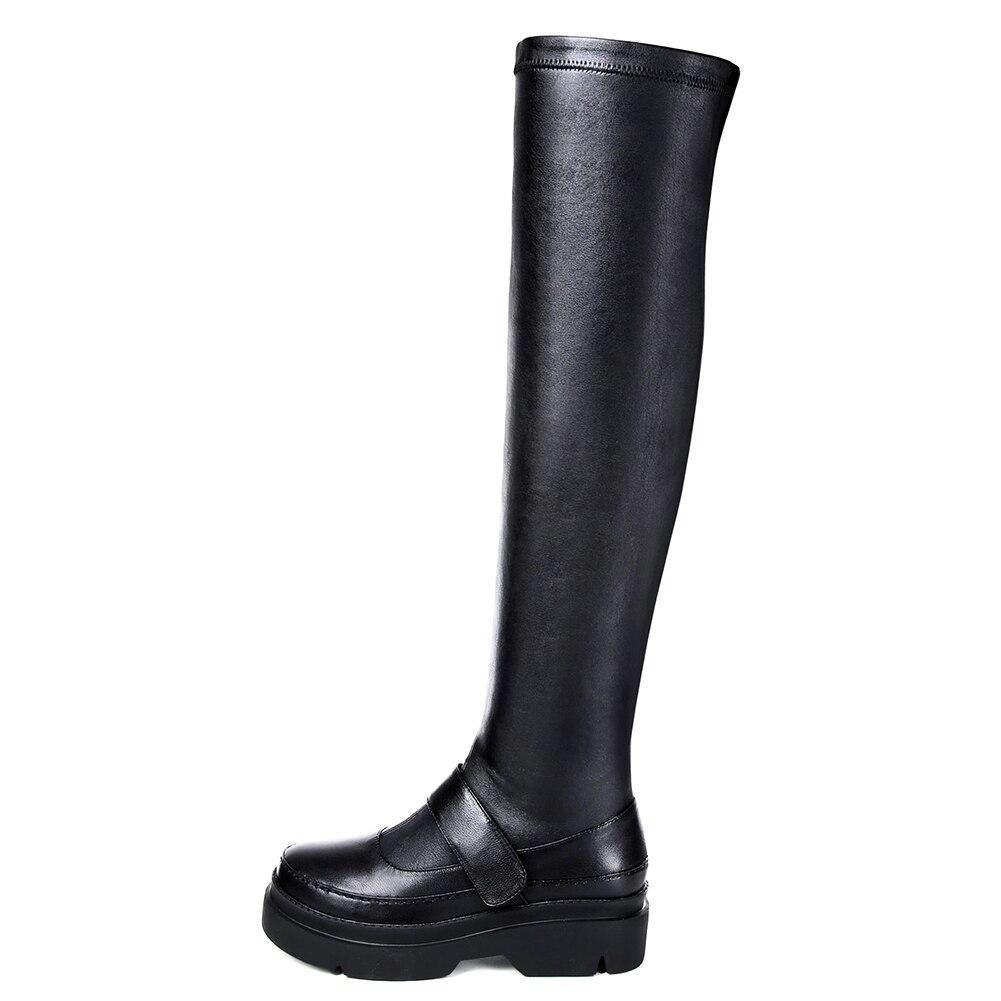 Boot Lapolaka De Femme Noir Partie Mariage Talons genou Femmes Grandes 34 the Bottes Confortable En Nouveau Tailles 41 Véritable Over Cuir Chaussures OZkXPiu