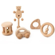 Newborn Baby Wood Rattles Handmade Wooden Infant Babies Boys Girls Teethers Toys Baby's Appease Waldorf Rattle for Baby Toddlers