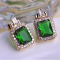 MECHOSEN Green Rhinestone Square Stud Earrings Luxurious Rectangular Pendientes Bridal Wedding Shiny Zirconia Copper Ohrringe