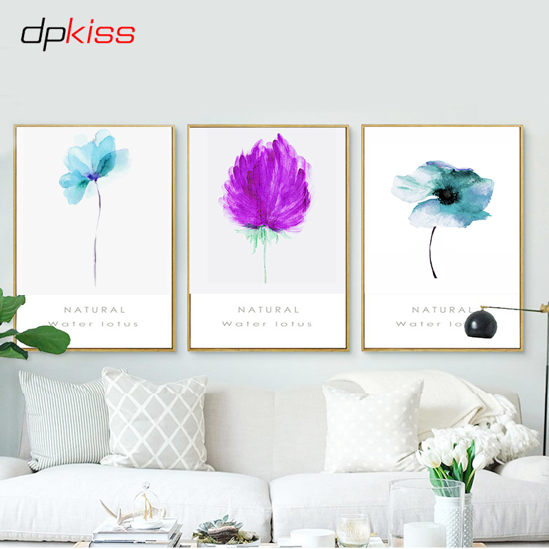 Dpkiss Canvas Purple Flowers Nordic Decor Picture Art Print Poster Wall Home Painting For