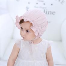 Yeni Bahar ve Yaz çocuk Kap Bebek Pamuk Prenses Şapka Yüz Gün Lastik Saray Şapka (0-24months)