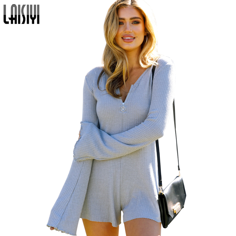 52acb12b7e9e LAISIYI Autumn Long Sleeve Fitness Jumpsuit Short Zipper V-neck Womens  Bodysuit Casual One Piece Playsuit Romper Gray ASJU20148