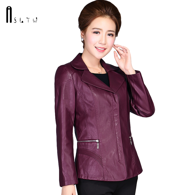 ASLTW XL 6XL Plus Size Women's Leather Jacket New Spring Fashion Turn Down Collar Solid Leather Jacket Zipper PU Leather Jackets