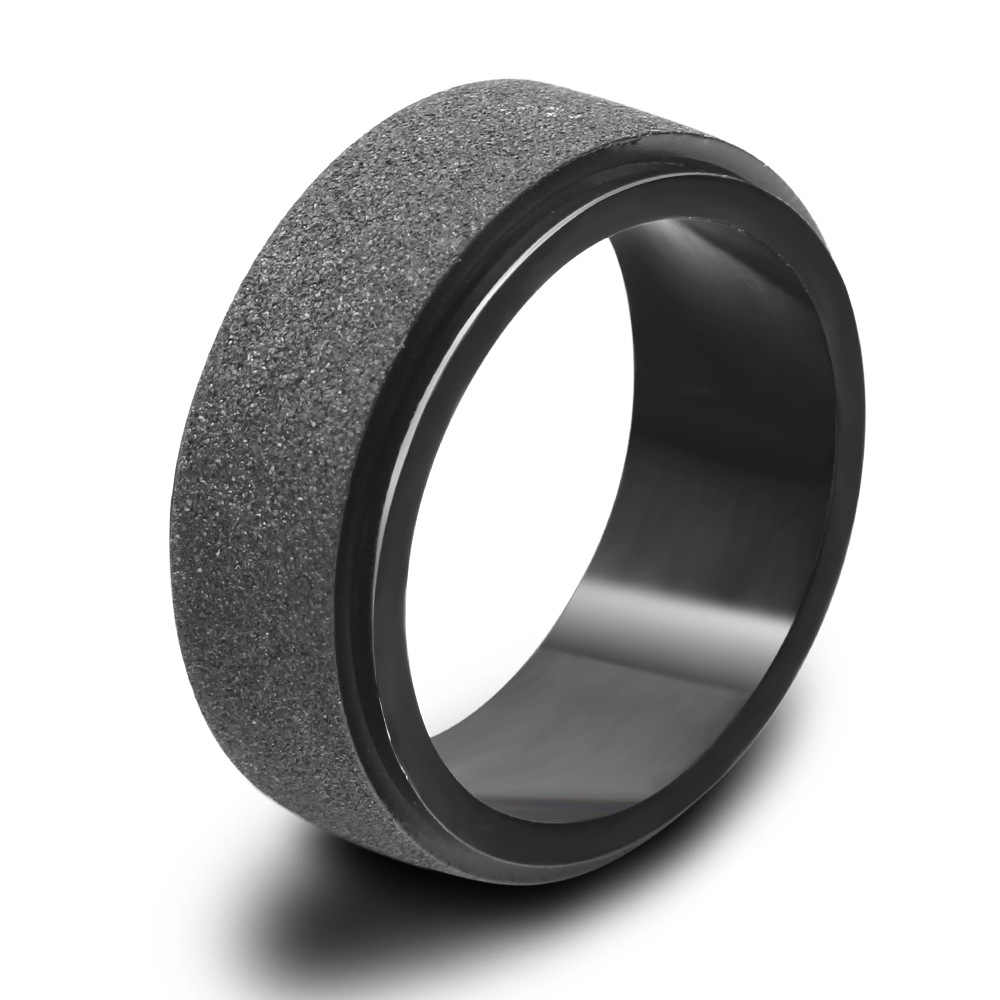New Arrivals Matte Black Rings Men Jewelry Vintage Stainless Steel Big Biker Ring for Women Bulgaria Jewelry Wide 8mm