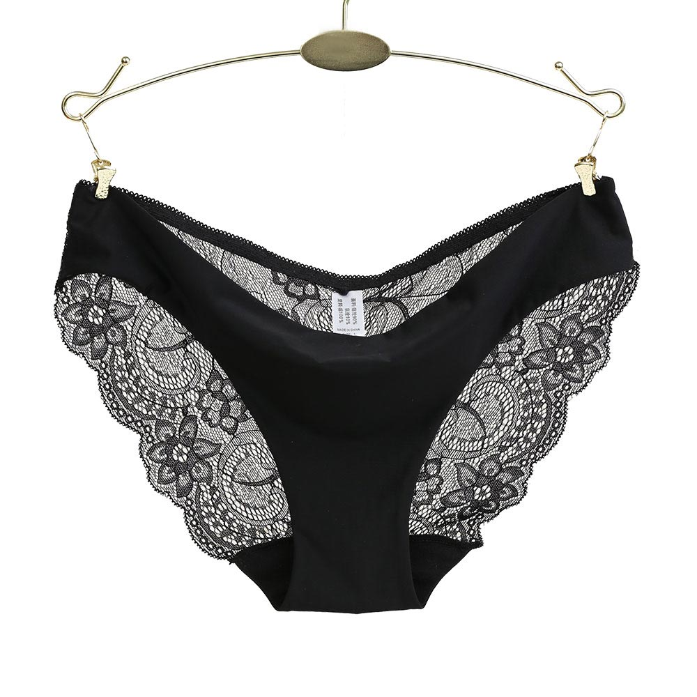 Ropa interior de mujer Bragas Sexy de encaje de talla grande bragas  transparentes de algodón de f45519b09d0d