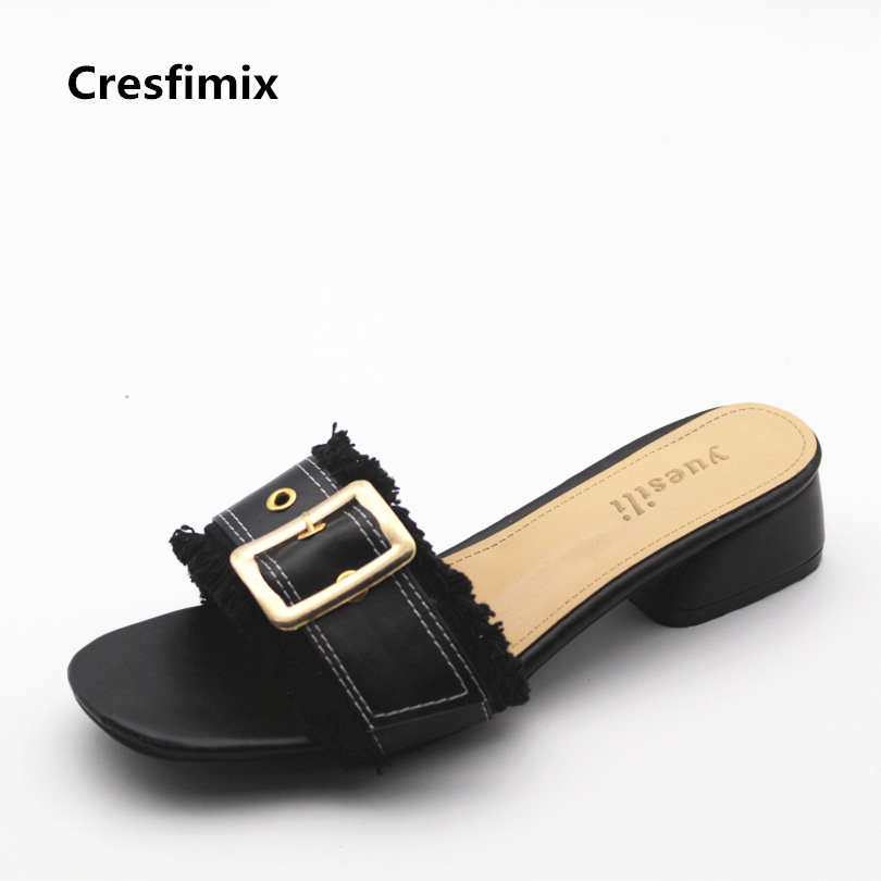 Cresfimix women casual black pu leather outside slippers lady cute spring & summer slip on slippers female cool beach flip flops cresfimix women cute spring