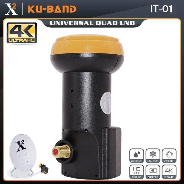 X כיכר אוניברסלי LNB עבור טלוויזיה בלווין מקלט HD דיגיטלי תמיכת 4K Ku Band LNB רעש דמות 0.1dB יחיד LNBF עמיד למים LNB