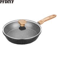 Hot 20 28cm Non stick Frying Pan Medical Stone Coating Chef's Pans With Heat Resistant Handle Use For Gas & Incuction Cooker