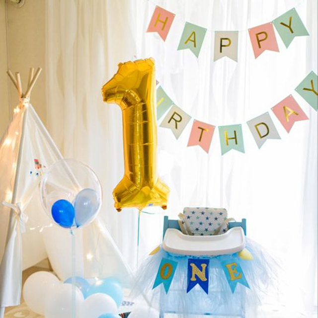 Baby Boy First Birthday Party Chair Flag 1st Banner Blue Black One Year Old Bunting Celebrate Decoration