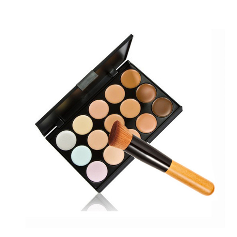 Cosmetic Set 15 Color Concealer Camouflage Contour Eye Face Cream Makeup Palette Professional + 1pcs Cosmetics Make Up Brushes