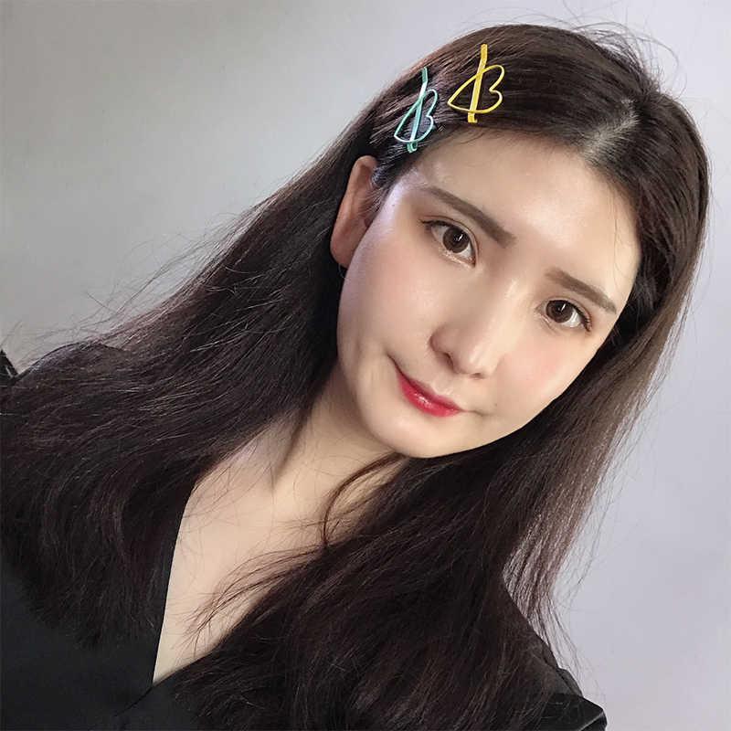 2 Pcs/set Cinta Hati Bintang Klip Rambut Permen Warna Gigi Logam Berlapis Bobby Pins untuk Wanita Gadis Rambut Aksesoris