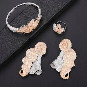 Image 4 - Luxe Blad Dubai Sieraden Set Voor Vrouwen Mode sieraden Bruiloft Ketting Oorbellen Armband Ring Sieraden Set Parure Bijoux Femme